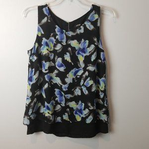 Apt 9 Dressy Floral Sheer Overlay Tank Top Small
